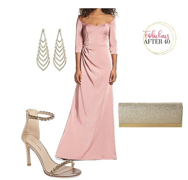 Mother of the Bride dress pink sweetheart neckline