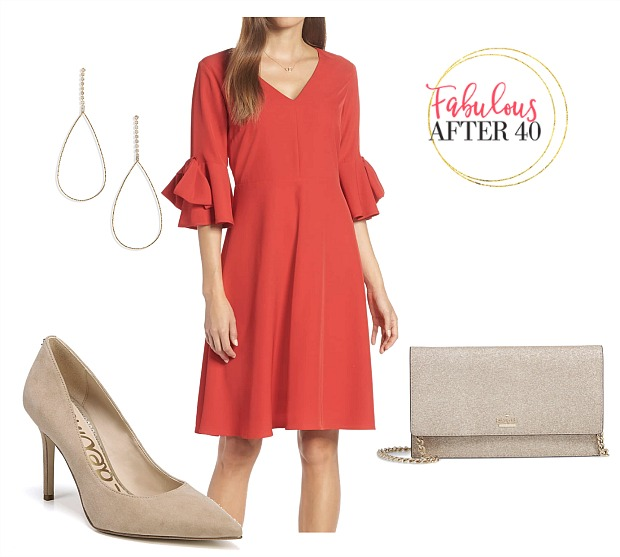 bridal shower red bell sleeve