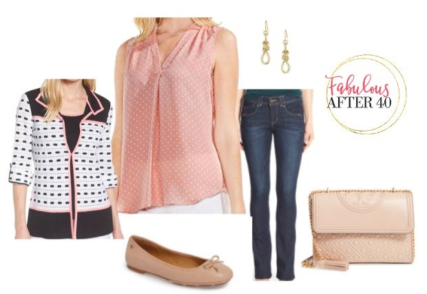 Polka dots for women over 40 with jeans