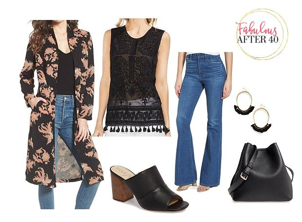 Black floral duster with jeans