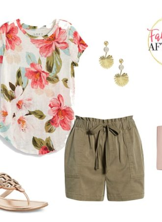 casual outfit - tropical tee, shorts