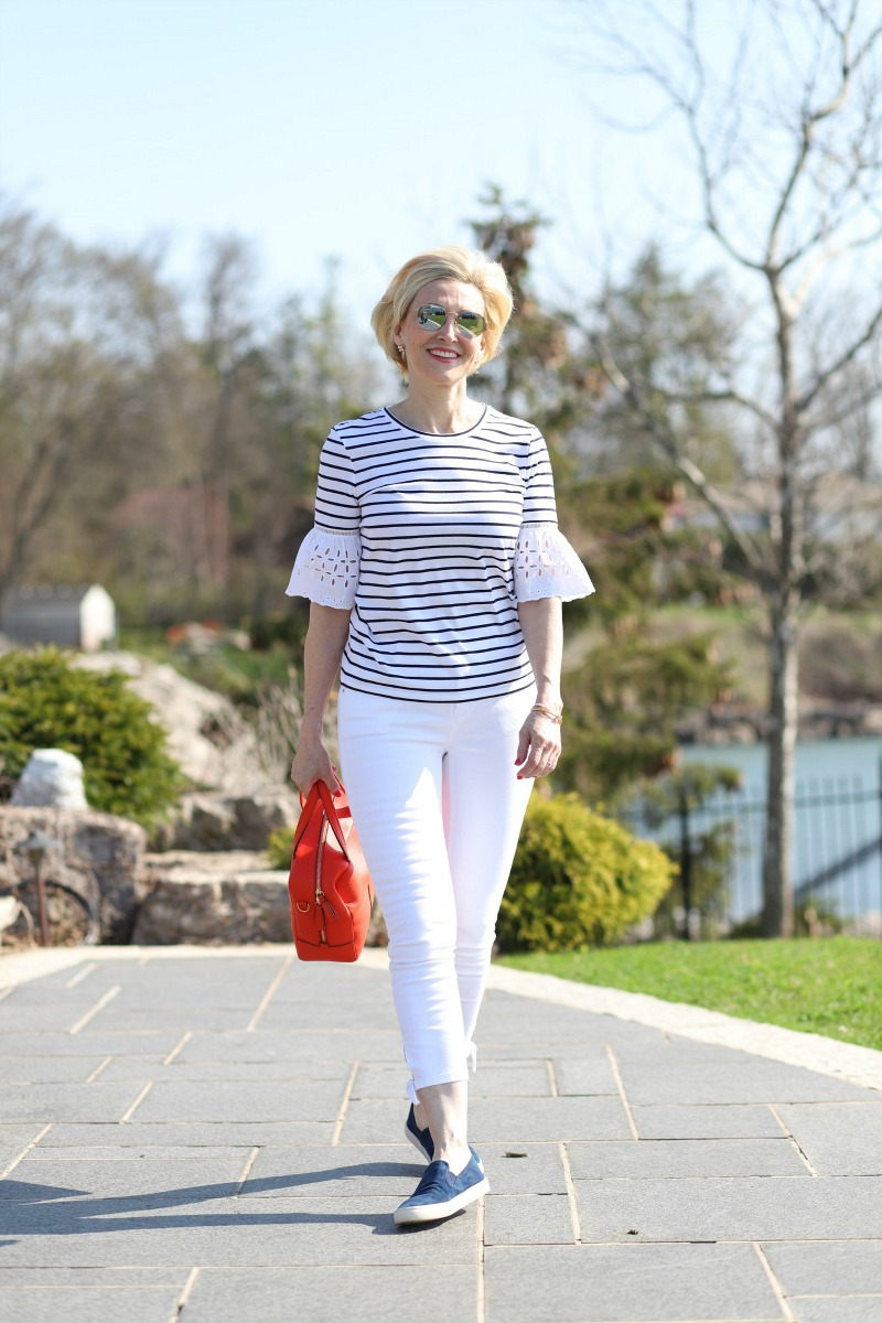 striped top eyelet sleeves 4