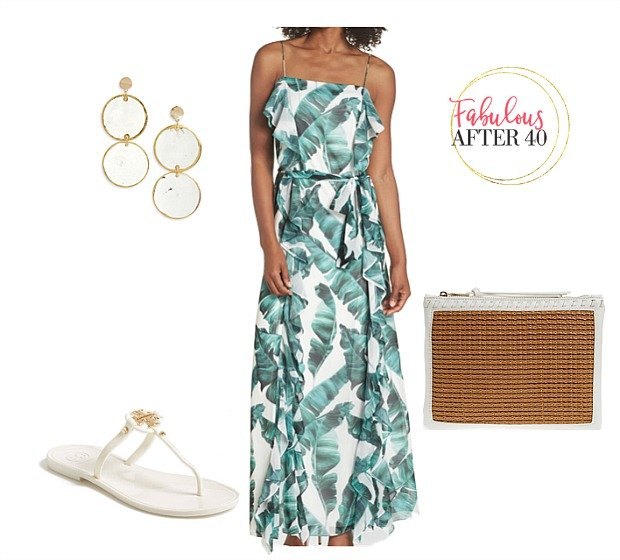 Beach Resort Outfit Palm Print Dress