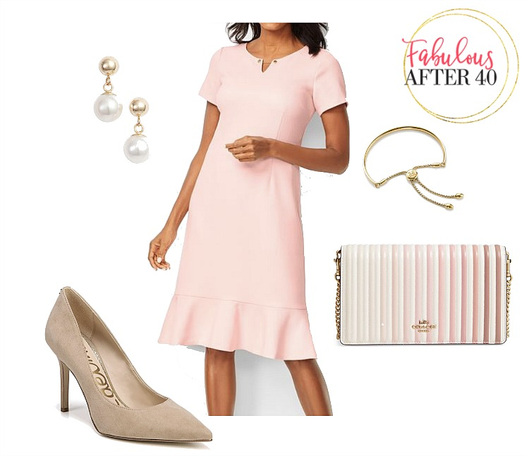 Mother of the graduate dress - pink dress with ruffle hem and nude pumps styled by Fabulous After 40