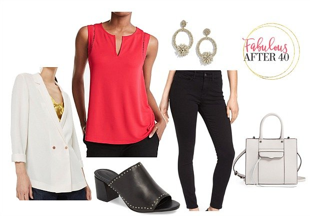 NYC Theatre Oufit- Red Top Black Pants
