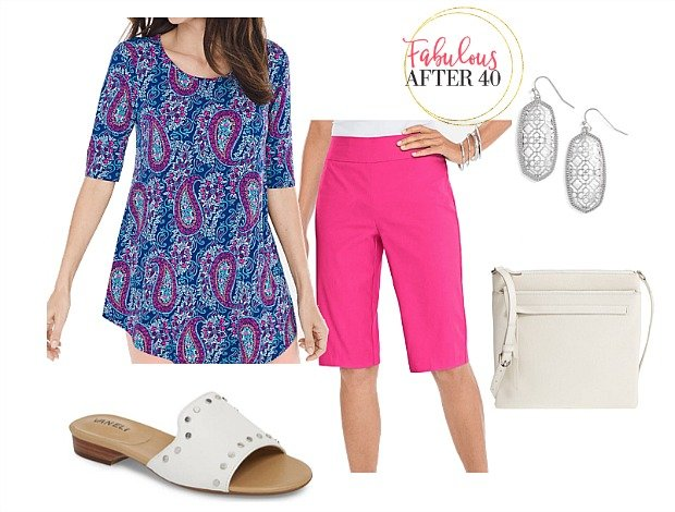 Shorts outfit over 40 | Pink Bermuda shorts, paisley print tunic top | styled by Fabulous After 40