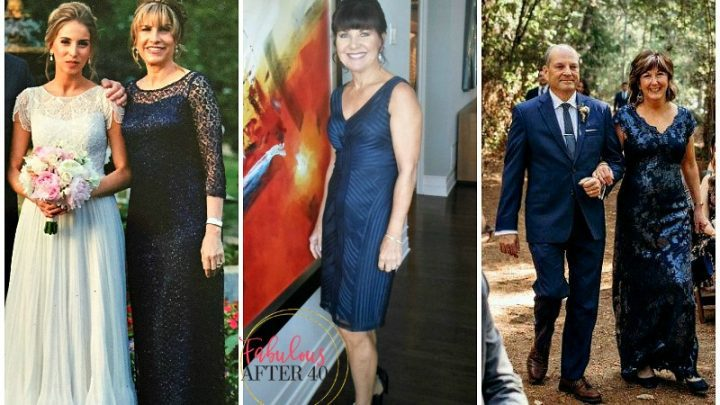 Navy Blue Mother of the Bride Dresses as worn by readers of Fabulous After 40
