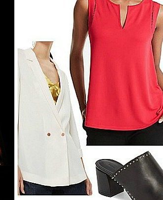 What to wear to a broadway play- red top -black jeans-whie jacket