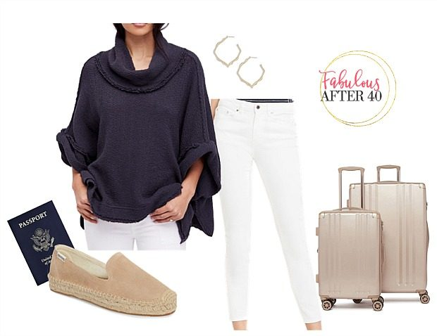 Comfy Airplane Outfits for Summer | Navy poncho with white jeans | Styled by Fabulous After 40