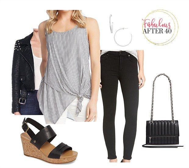 Girl's night outfit- black and white striped top and black jeans and jacket jstyled by Fabulous After 40