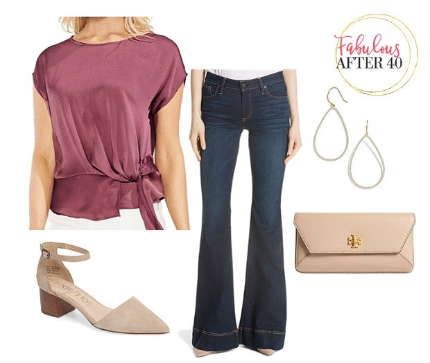 Girls Night Out Outfit - Flare jeans pink satin top styled by Fabulous After 40