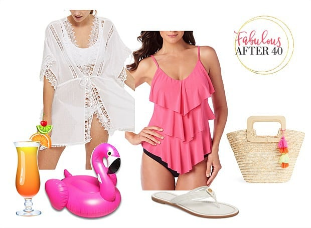 Pool party attire -pink tankini and coverup