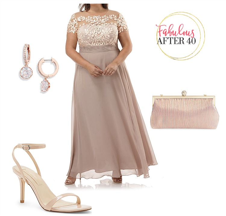 FALL & WINTER PLUS SIZE MOTHER OF THE BRIDE DRESSES -Rose gold dress