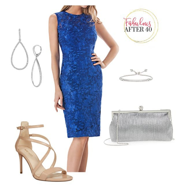 Summer Cocktail - Cobalt Lace - Summer Evening Cocktail Dresses for a Formal Reunion