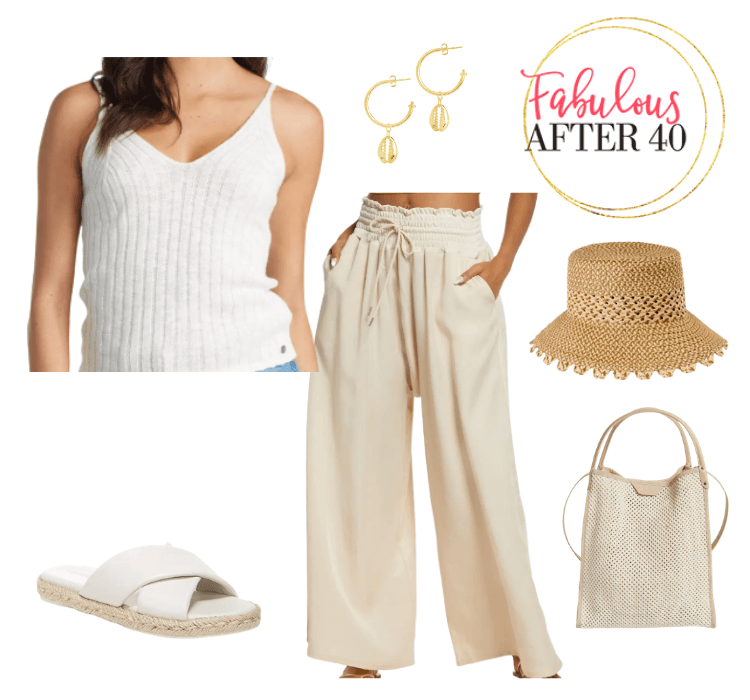 beach vacation outfit flowy pants