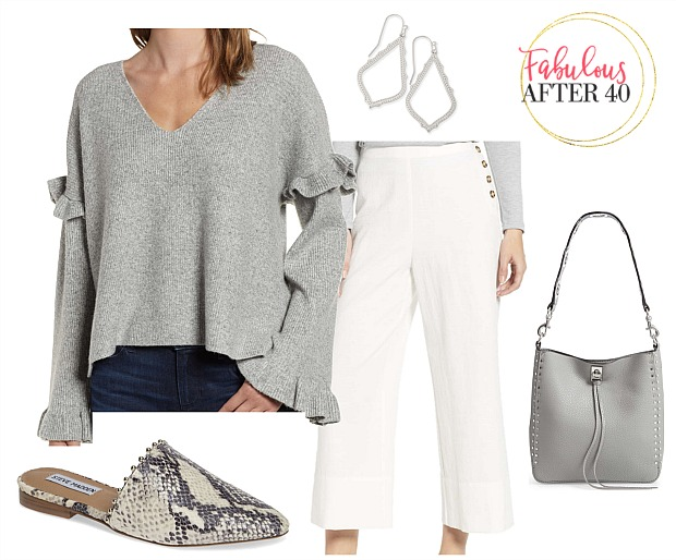Wide Cropped Pants with buttons, gray ruffled sweater outfit | How to wear wide leg trousers | styled by Fabulous After 40