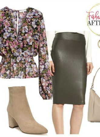 Olive leather pencil skirt and floral blouse