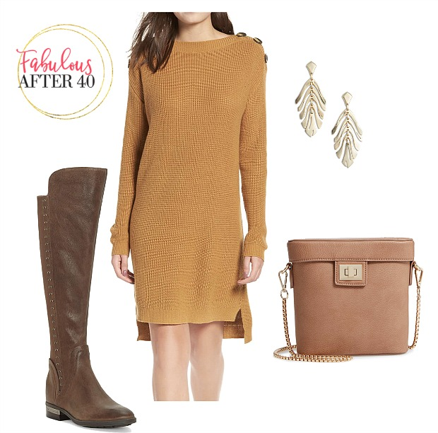 Gold ribbed sweater dress with suede camel over the knee boots and bag outfit