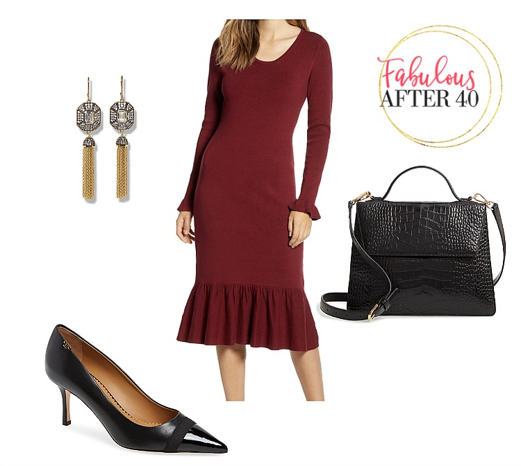 Holiday Office Party Dress l Red Sweater Dress, black croc bag, tassel earrings l styled by Fabulous After 40
