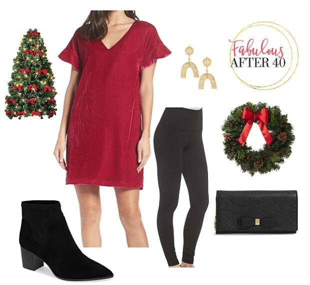 Christmas Party Outfit Ideas with Leggings | Red tunic, black leggings, black suede booties | styled by Fabulous After 40
