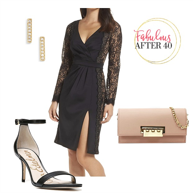 New Year's Eve Dresses - Black Lace Dress with front slit