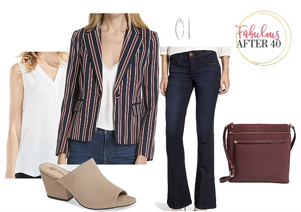 how to style a blazer with jeans | striped jacket, white sleeveless top, flare jeans | styled by Fabulous After 40