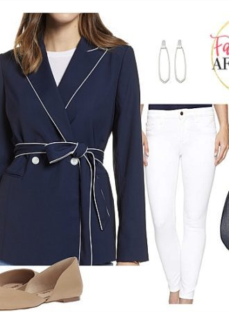 Spring blazer | Navy White Piping