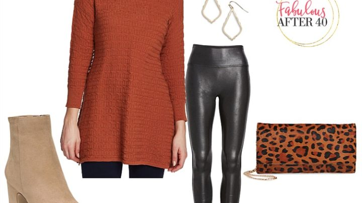 Long tops for Leggings - Rust Ribbed sweater