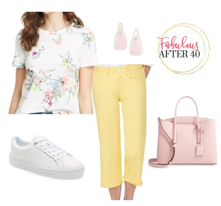 Wide Leg Cropped pants -yellow, floral top | styled by Fabulous After 40