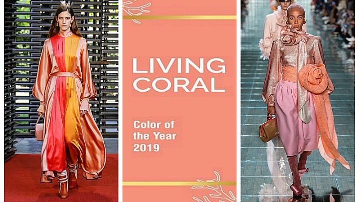 models wearing living coral, color of the year 2019