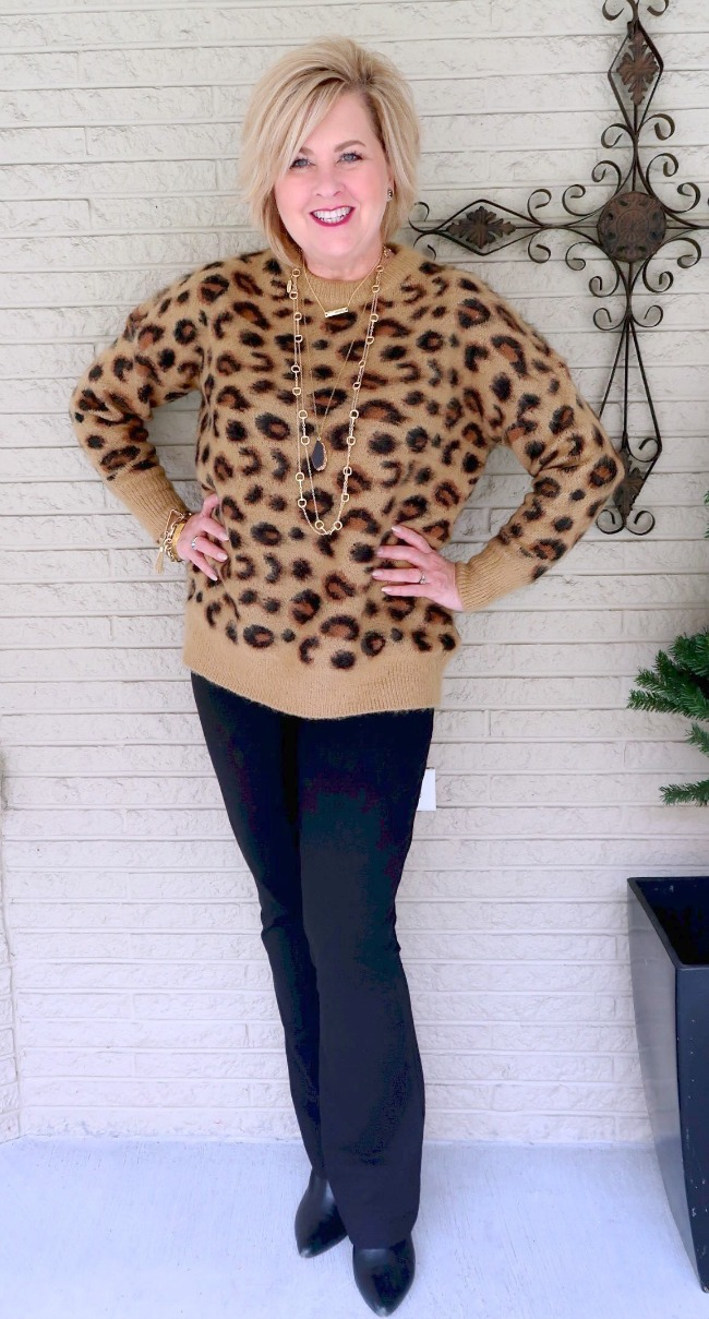 ober 50 blogger wearing leopard print top