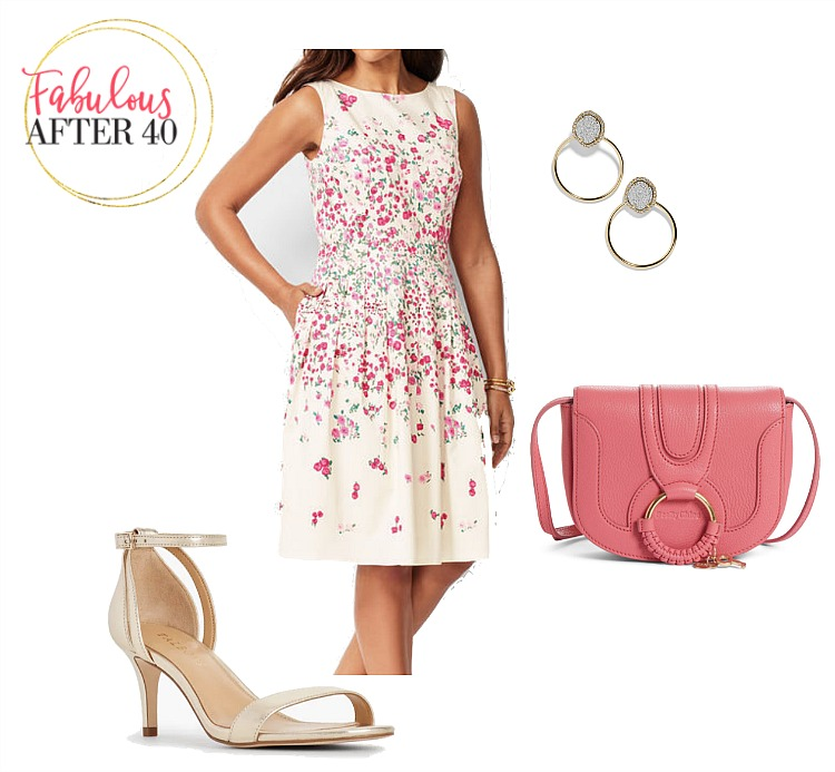 Cream and pink floral dress with pink saddle bag and nude ankle strap pumps