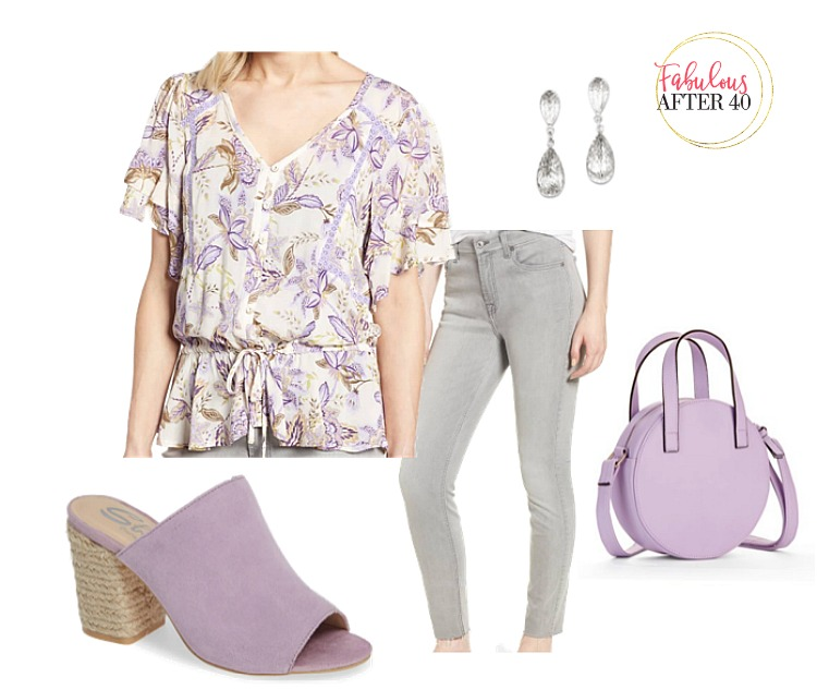 Lavender Floral Top, gray jeans, lavender mules, and lavender bag styled by Fabulous After 40