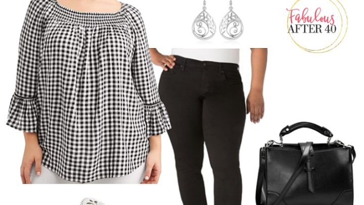 Plus Size Spring Outfits- Gingham Top, black jeans