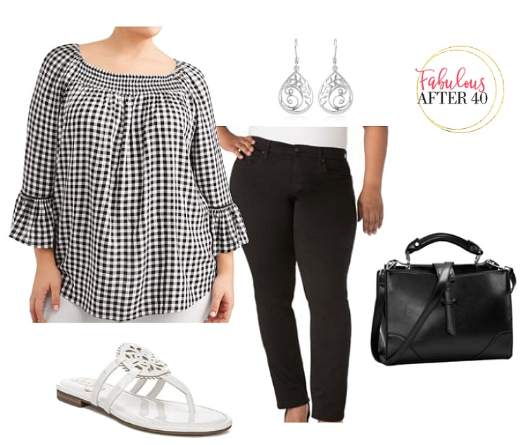 Cute spring outfit Plus Size- Gingham Top, black jeans, white sandals, black bag