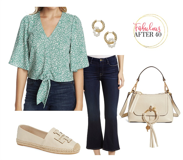St Patricks day outfit  - Green Floral Tie Top, jeans styled by Fabulous After 40