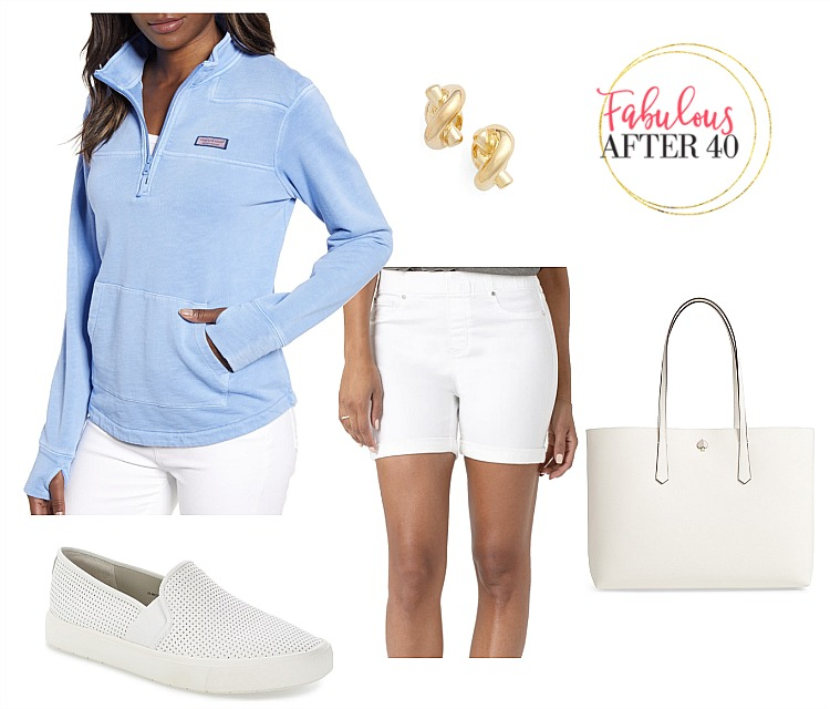 Cute Memorial Day Outfit - Blue hoodie and white shorts