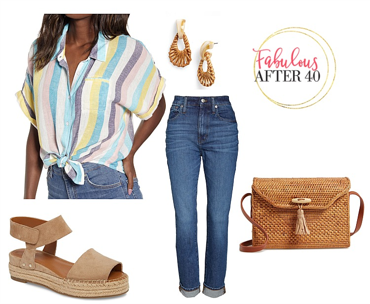Memorial Day Outfit- Striped Tie Top , jeans, wedge rope sandals