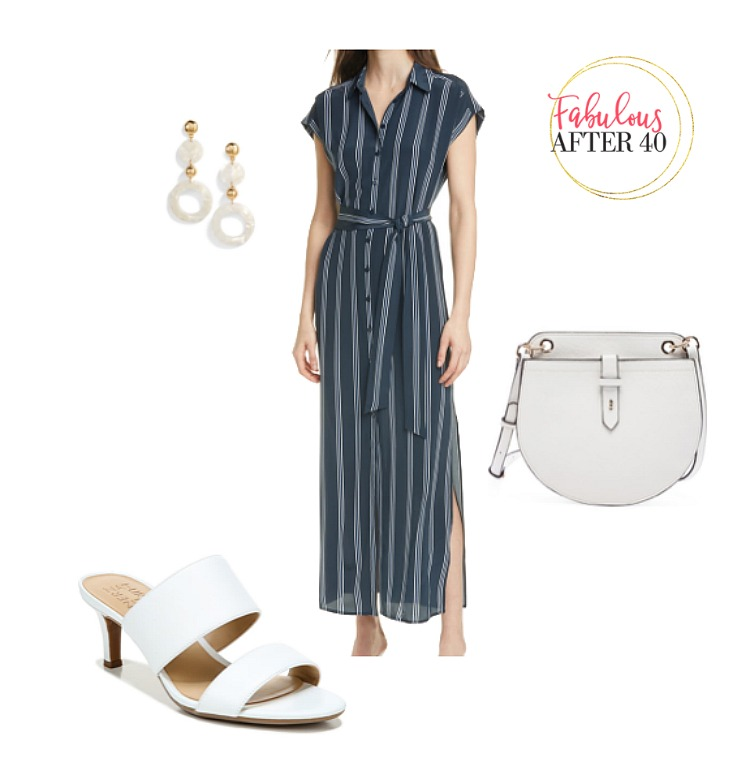 Sundresses for Women Over 50- Navy Stripes