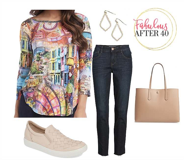 Wearable Art clothing | European Street Scene Top with Skinny Jeans