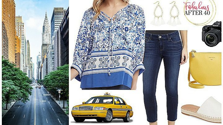what to wear in New York City jeans and peasant top
