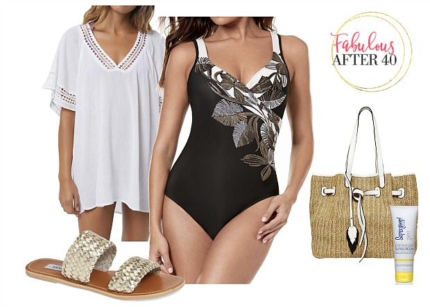 Swimsuits-Black-and-white-Floral-