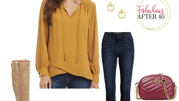 Fall Outfit - Mustard Blouse, jeans