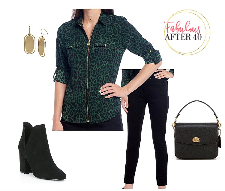 Fall Outfits - Green Leopard Top