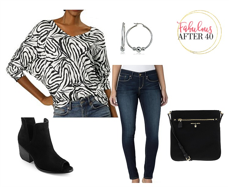 Animal Print tops -zebra print top, jeans, booties