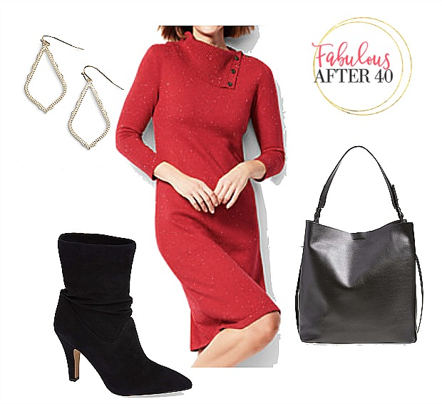 Holiday Party Outfit-Red-sweaterdress-with-slouchy-black-suede-booties-