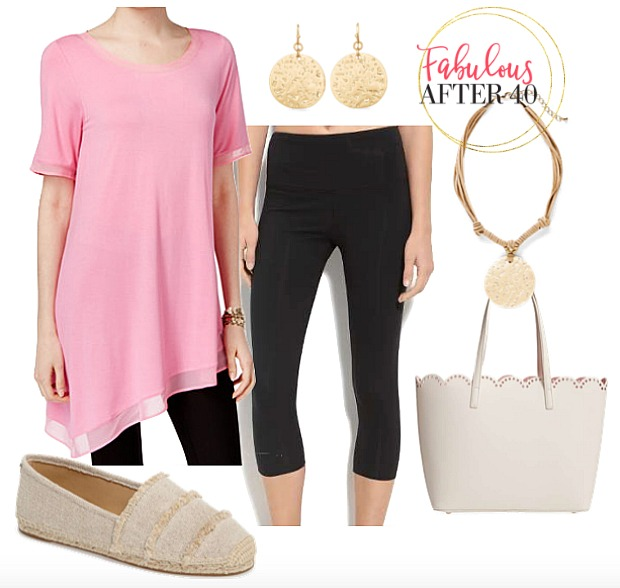Black Leggings outfit | pink-short-sleeve-assymetrical top, black leggings | styled by Fabulous After 40