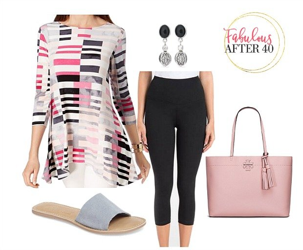 Black Leggings outfit | Pink-and-Black-Striped sheer tunic, black leggings, pink tote, gray sandals | Styled by Fabulous After 40-
