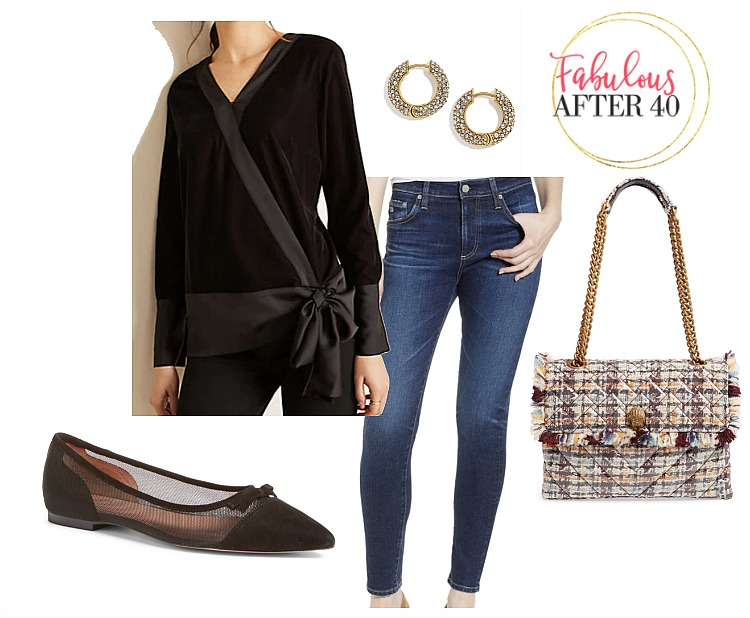 Casual Holiday Party outfit- Velvet Tie Top, jeans