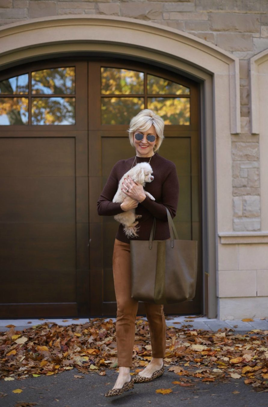 Brown Suede Leggings, brown turtleneck | Deborah Boland , Fabulous After 40